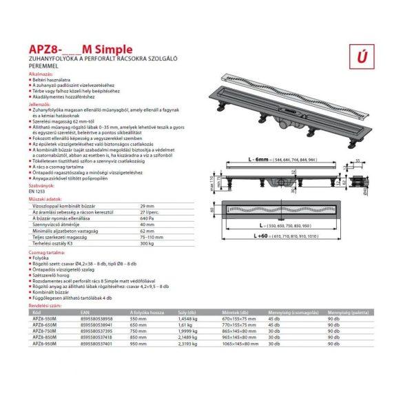 Zuhanyfolyóka Alcaplast APZ8 Simple