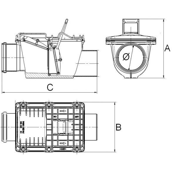 Capricorn dupla zárású visszacsapó szelep lefolyóhoz, vízelvezetéshez