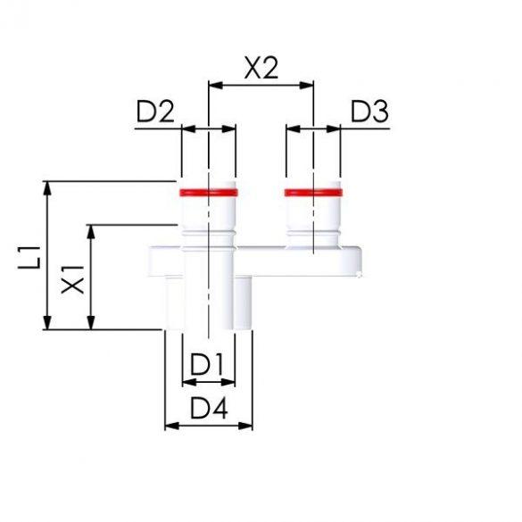 tricox pps-alu 80/125-2x80 szétválasztó adapter