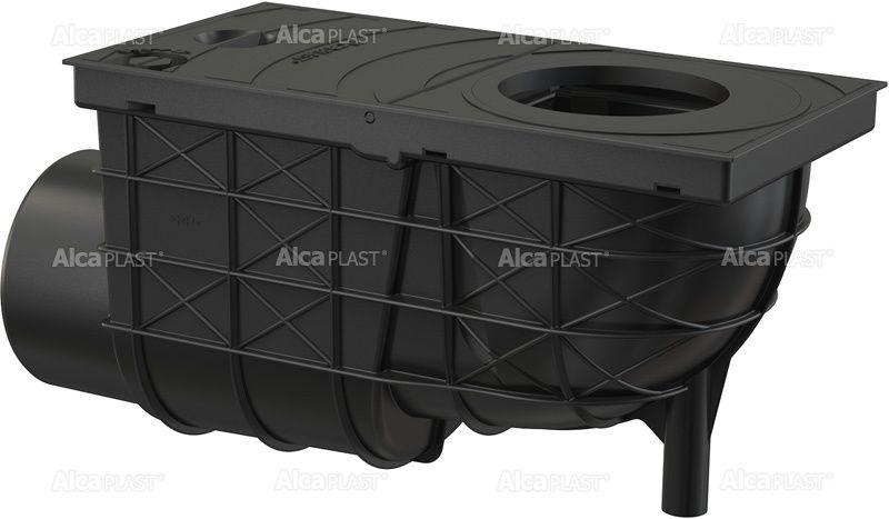 Esővíz elvezető akna vízszintes kifolyással 300x155/110 fekete Alcaplast AGV3