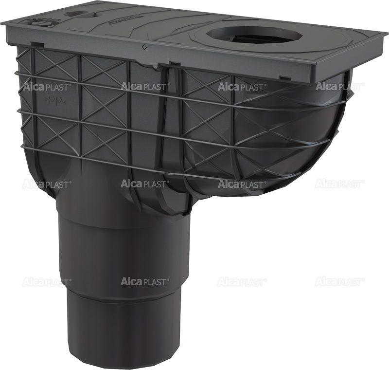 Esővíz elvezető akna függőleges kifolyással 300x155/125/110 fekete Alcaplast AGV4