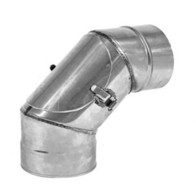 ST Saválló acél füstcső könyök DN200/0,8 mm 90°-os tisztító nyílással