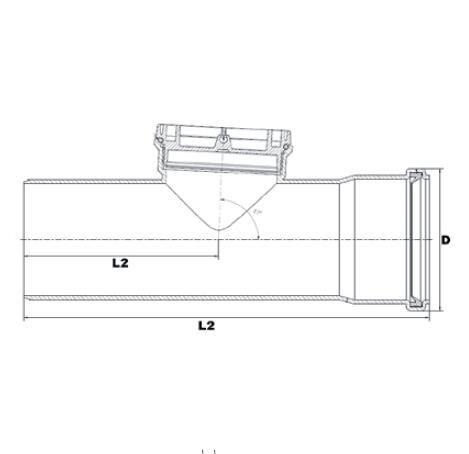 Brilon polipropilén (PP) ellenőrző idom flexibilis kéményrendszerhez 80 mm-es