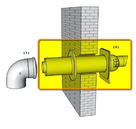 Brilon PPs/Alu parapet (oldalfali füstgáz kivezető) 80/125 mm 2 db takarólemezzel