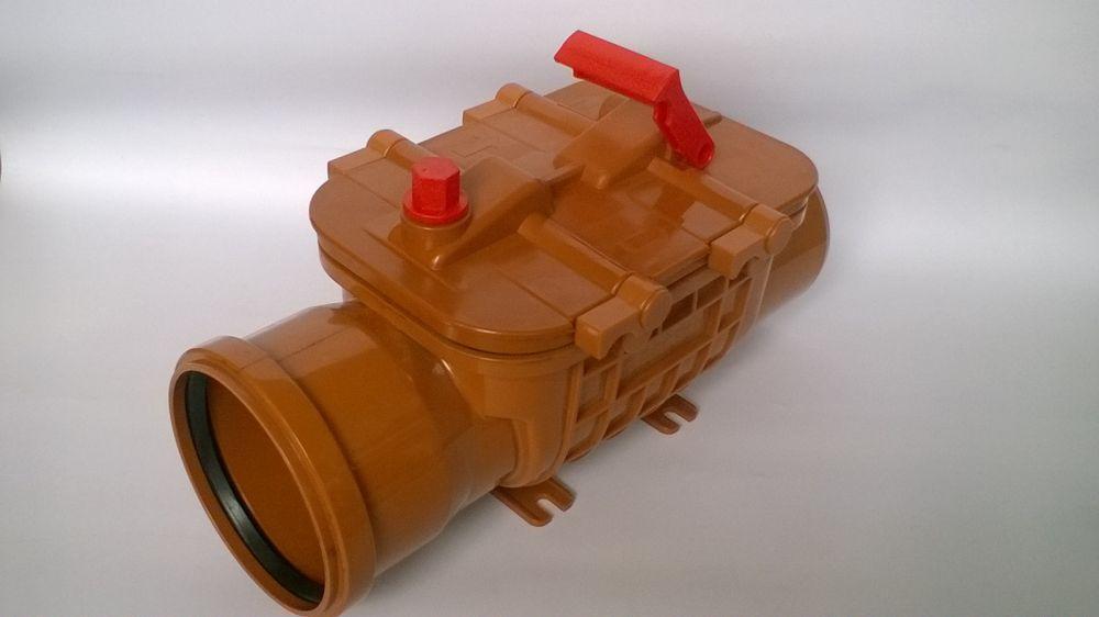 PES visszacsapó szelep DUPLA csappantyúval NA110 lefolyó rendszerhez, zárható kivitel (szennyvízhez, esővízhez)